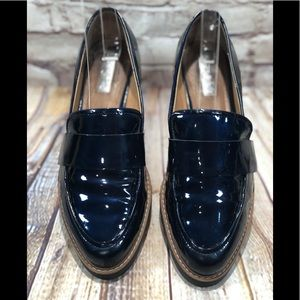 Halogen metallic blue loafers/creepers sz 8.5 m